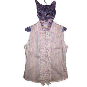 Faconnable rainbow tuxedo S sleeveless blouse